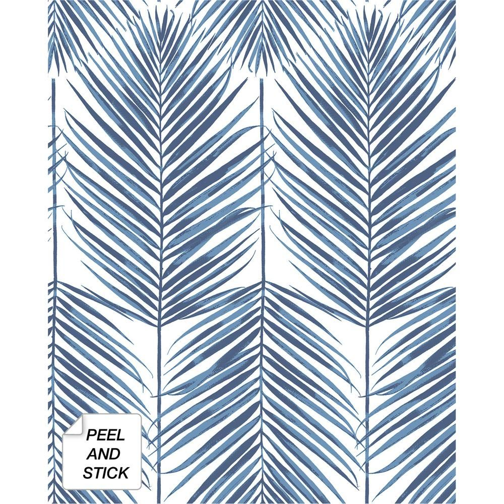 Nextwall Paradise Palm Coastal Blue Vinyl Strippable Roll Covers 30 75 Sq Ft Nw33002 The Home Depot In 2021 Palm Leaf Wallpaper Leaf Wallpaper Wallpaper Roll
