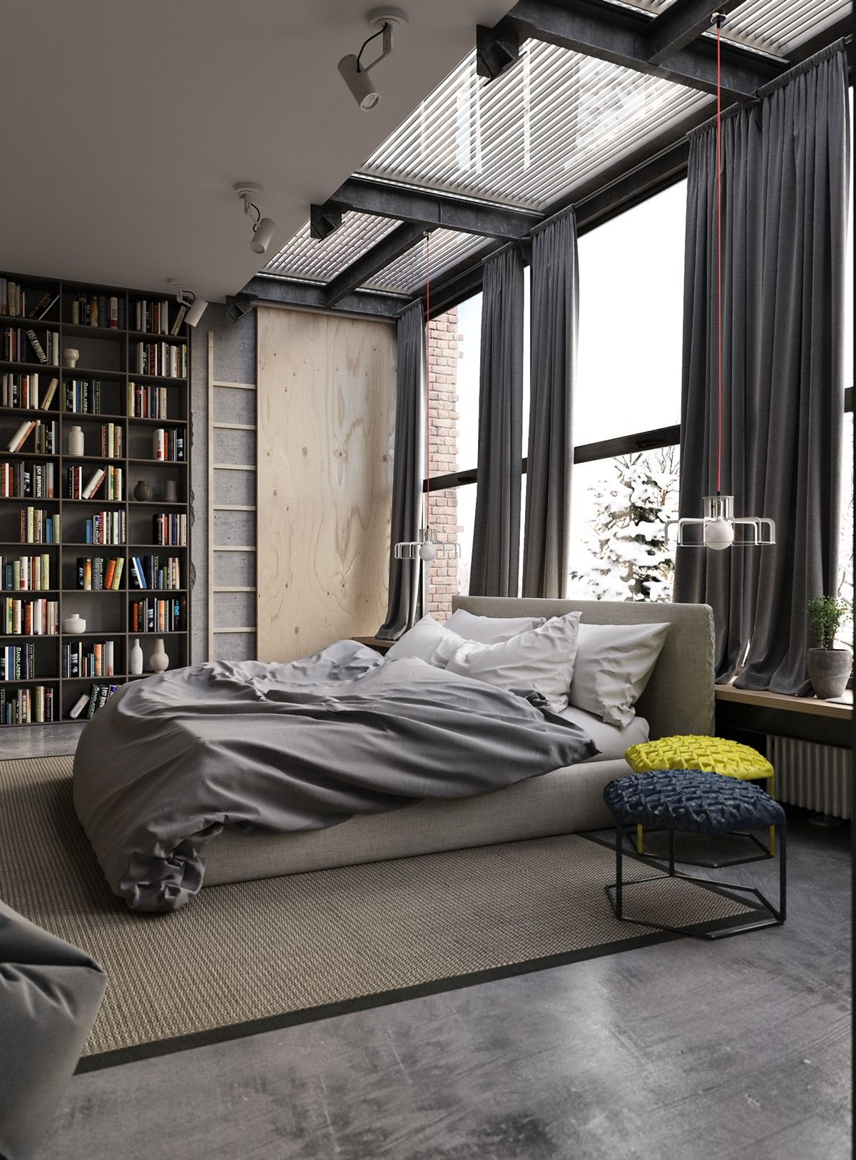 Amazing New Industrial Bedroom Decor With Grey Heavy Soft Curtains Also Large Clear  Modern Windows And Huge