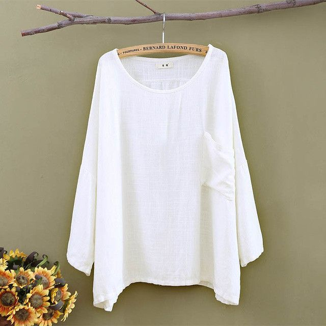 93ab5952afab9 Plus size White Linen Women Blouses Shirt Solid O-neck Loose Casual Summer  Shirts Blouse Vintage Linen Tee shirt Tops 5001