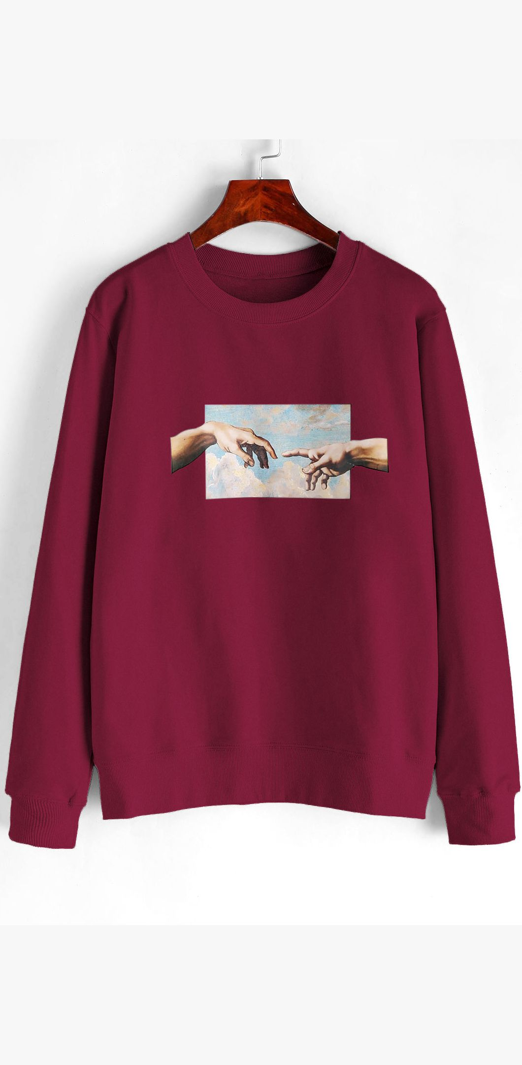 Hand Graphic French Terry Basic Sweatshirt Sweatshirts Clothes Hoodie Sweatshirts Outfit [ 2163 x 1060 Pixel ]