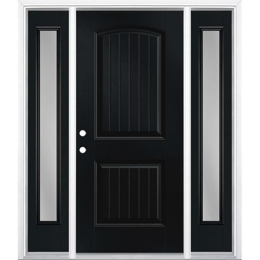 Masonite 60 In X 80 In Clear Glass Right Hand Inswing Peppercorn Painted Fiberglass Prehung Entry Door In 2020 Entry Door With Sidelights Entry Doors Black Entry Doors