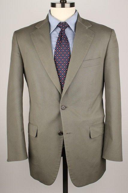 274aafdd8ab4 SUMMER Brooks Brothers BROOKSCOOL POPLIN Olive Grey Cotton Blend 40 S mens  Suit
