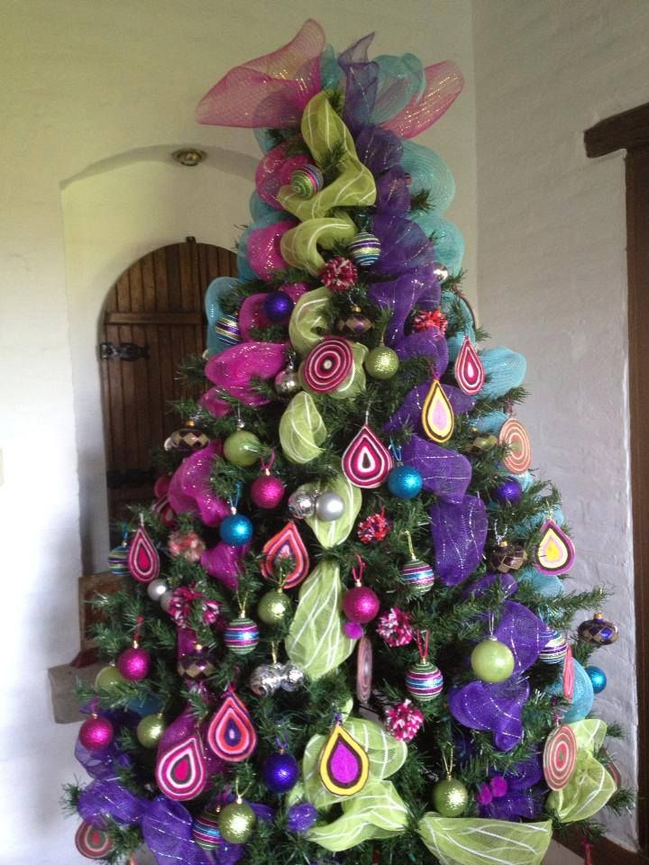 Christmas Tree Vertical Deco Mesh In Multiple Bold Bright Colors
