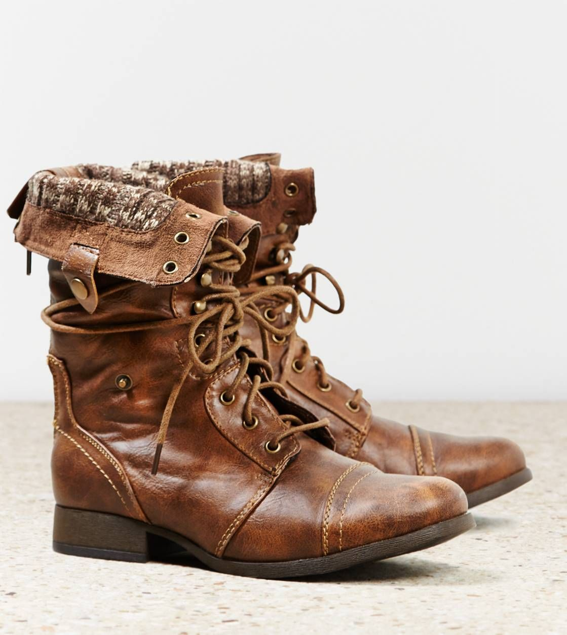 Brown fold over combat boots women