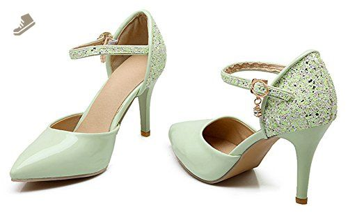 4ff2f2fbf332 Sfnld Women s Sexy Pointed Toe Low Cut Sequins Ankle Strap Buckle Stiletto Heel  Pumps Green 4 B(M) US - Sfnld pumps for women ( Amazon Partner-Link)