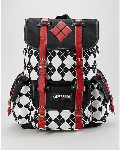 77a7e4b72b0e Drawstring Harley Quinn Backpack - Spencer s