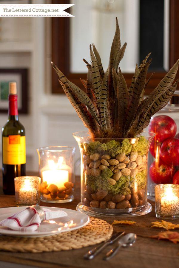 Fall decorating unique idea glass vase hurricane layered