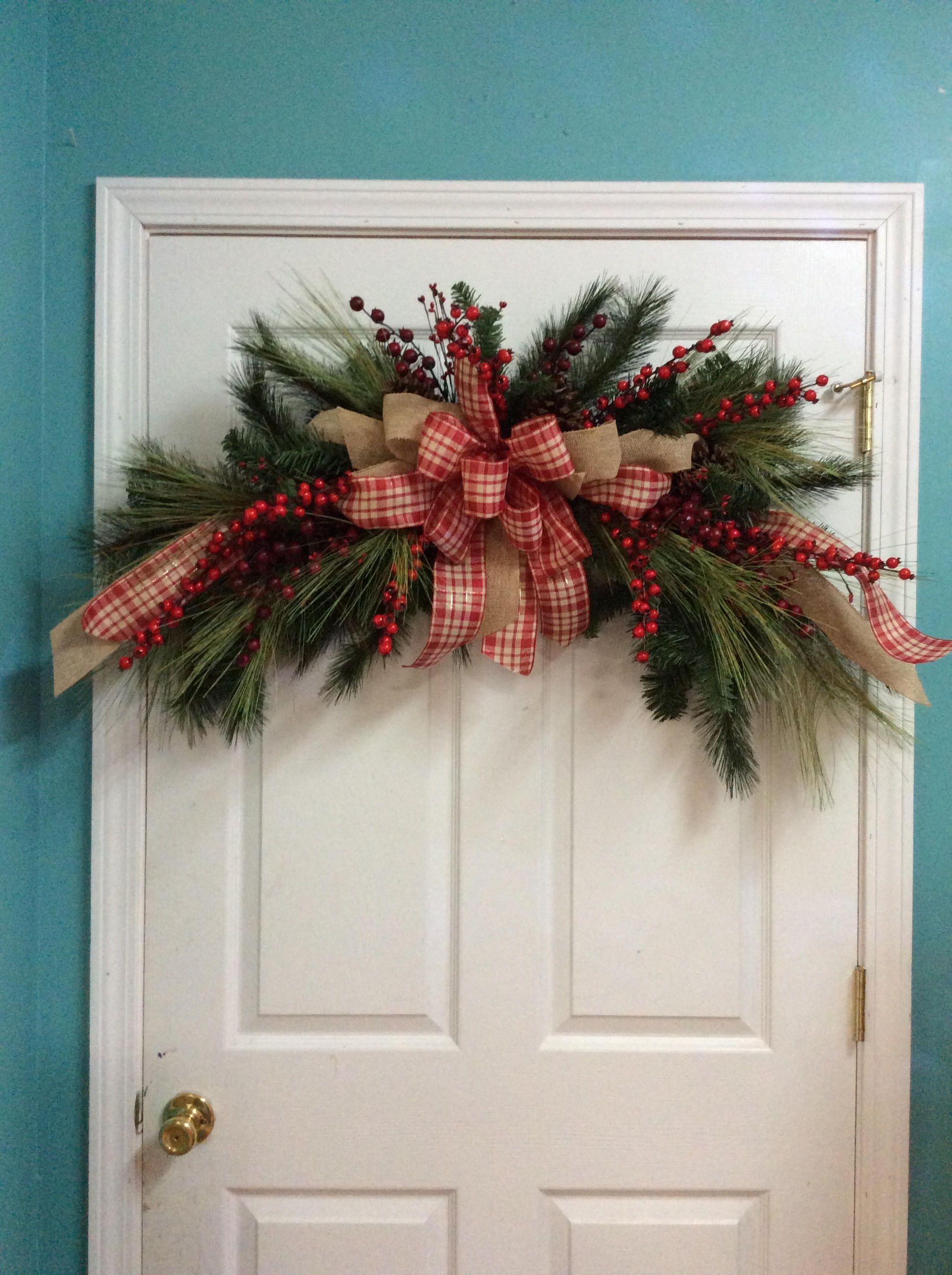 Door Christmas Garland Country Pine And Berry Swag Red Berry Door Garland Farmhouse Door Arch Christmas Wreaths Diy Christmas Garland Christmas Porch Decor