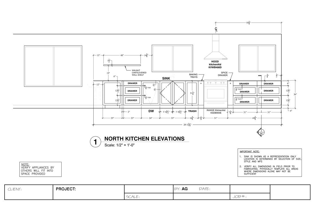 Kitchen Elevation Shop Drawing Services Interior Design