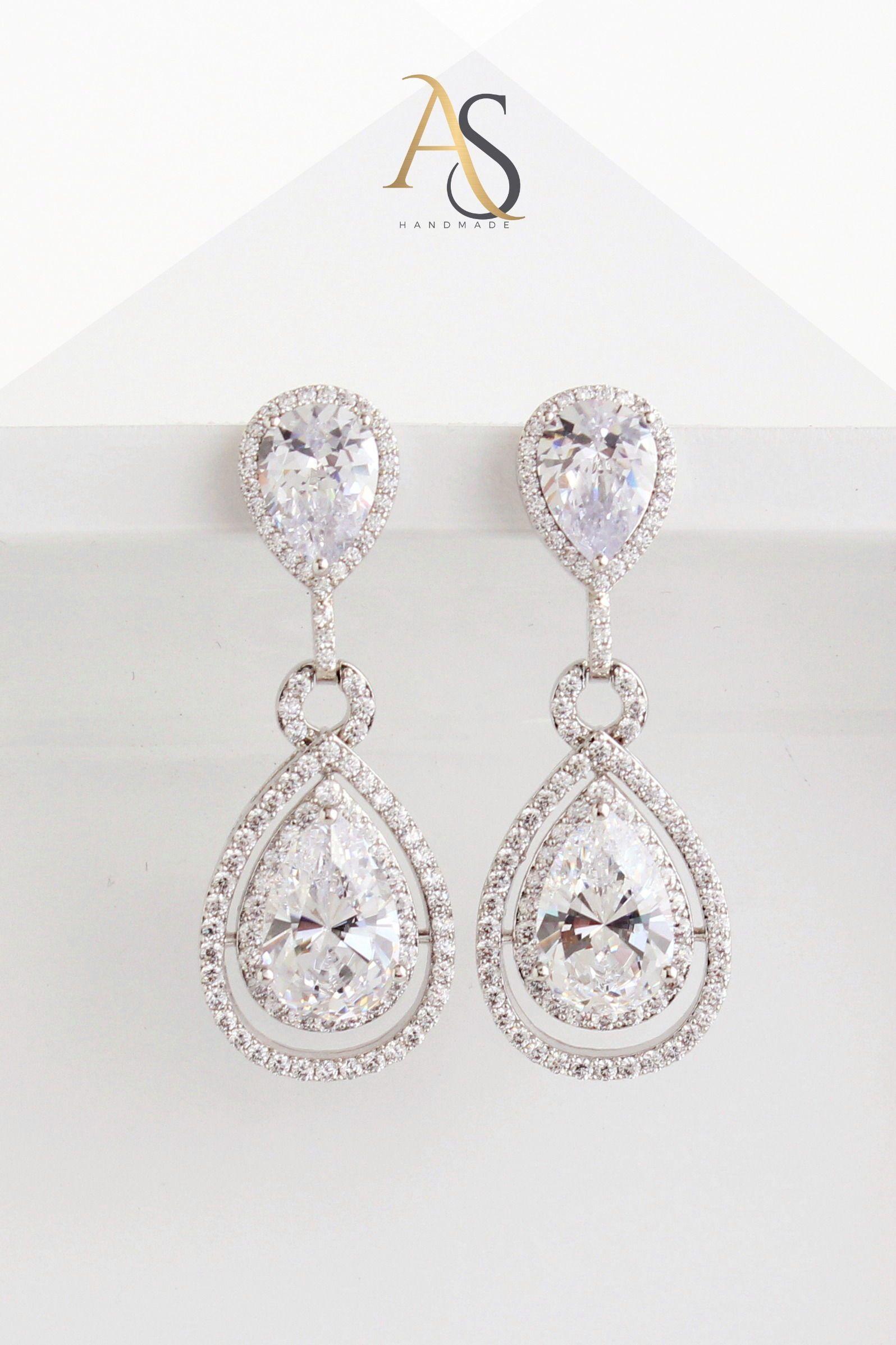 Statement Bridal Earrings Chandelier Crystal Teardrop Earrings Cubic Zirconia Wedding Earrings For Brides Susie Bridal Earrings Wedding Earrings Bride Earrings
