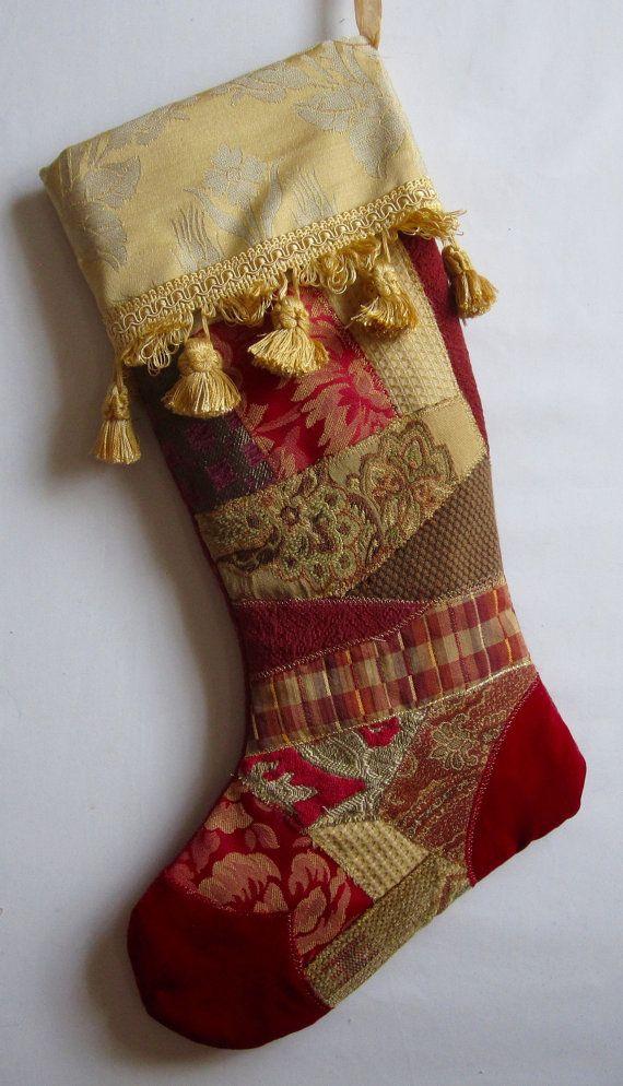 elegant christmas stocking with fancy trim fabric art by bjelvgren