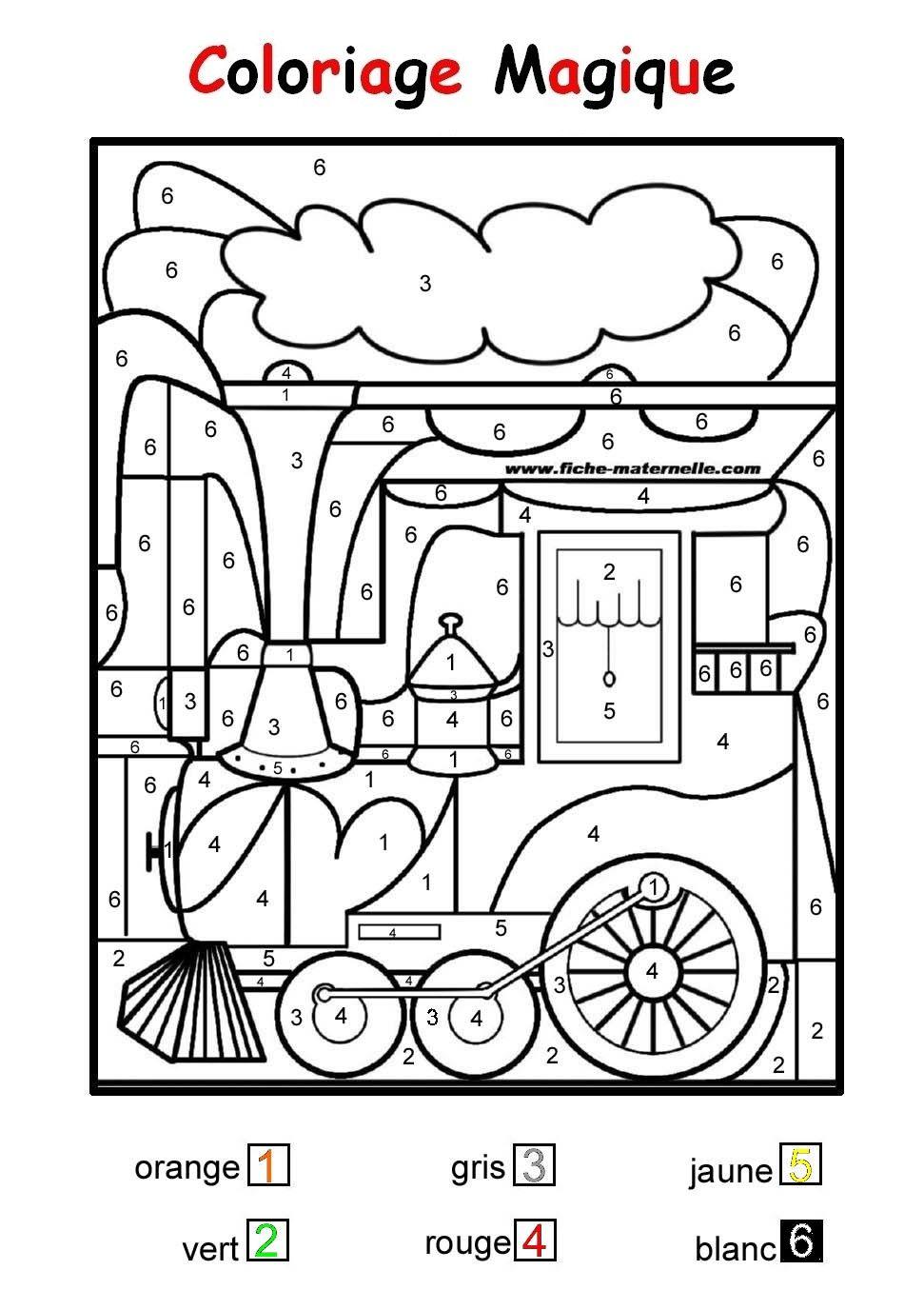 Coloriage magique pour les plus petits une locomotive color by number for adults and - Dessin pour les petit ...