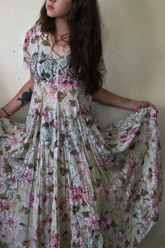 90's Grunge Revival Sheer Lace Maxi Dress Medium