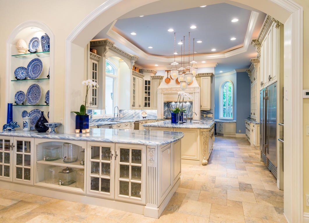 Kitchen blue marble
