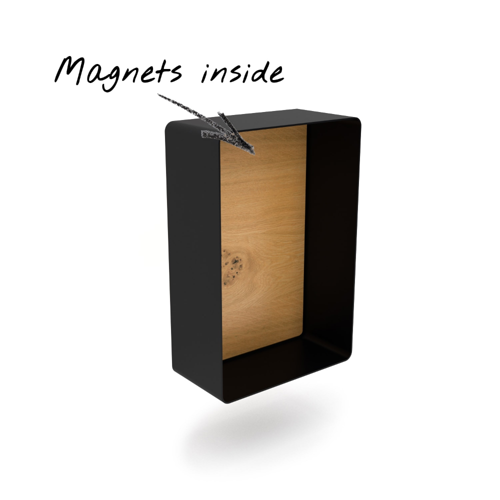 Wandregal Magic 4 Holz Eiche Metall Schwarz Rund Wandregal