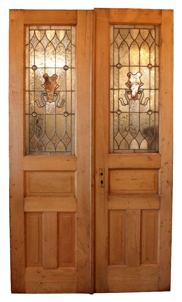 Splendid Antique Pair Of Chestnut Doors With Stained Glass Early