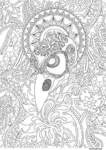 Horror Scenes Crow Paisley Coloring Pages Animal Coloring