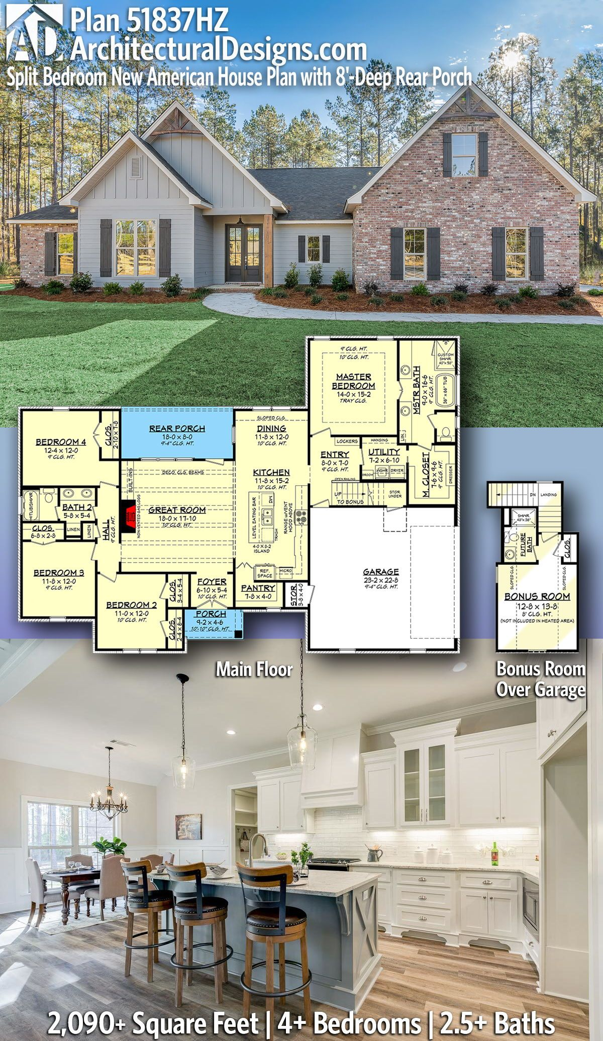 Plan 51837hz Split Bedroom New American House Plan With 8 Deep Rear Porch Craftsman House Plans American Houses New House Plans