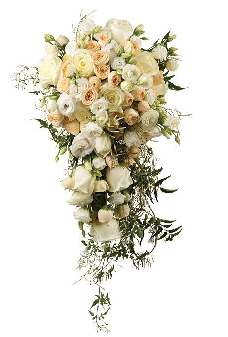 Cascade Bouquet Just Dripping With Tendrils Of Jasmine And Soft Muted Colored Roses Feels Lush