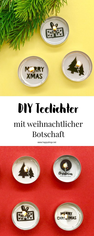 Make your own Christmas decorations  tea lights with a message  Make tealights with a message for Christmas yourself So you make yourself cute Christmas decoratio
