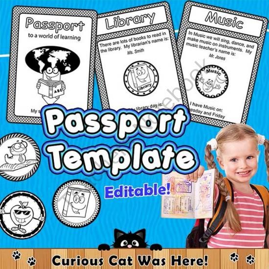 fun passport template - first day of school from curious cat was here on
