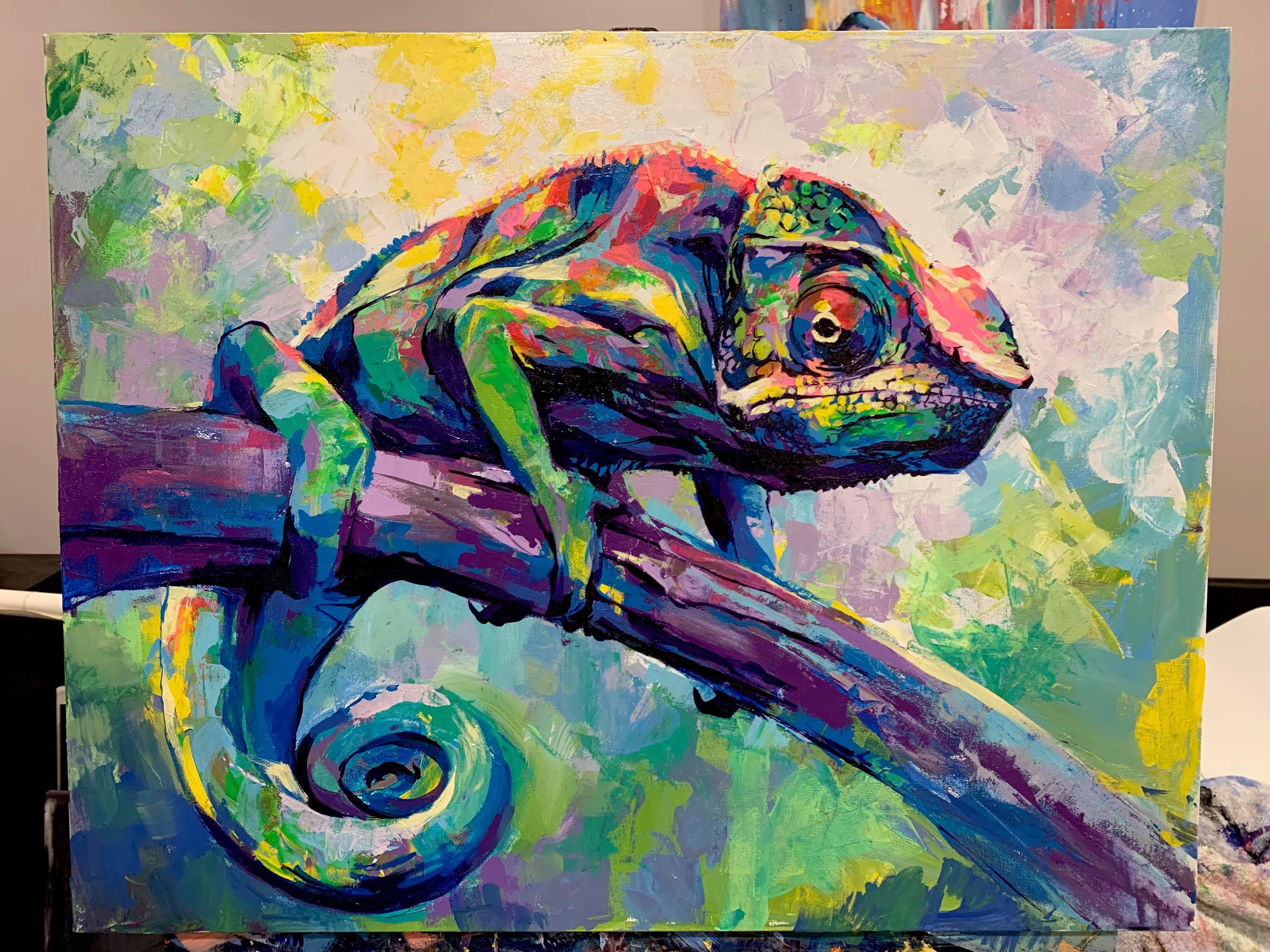 Chameleon Macro Reptile HDP0123 Art Print Poster A4 A3 A2 A1