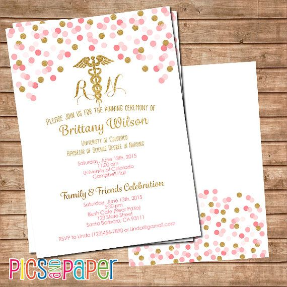 Nursing Graduation Invitation, RN or LVN, Pink and Gold confetti ...