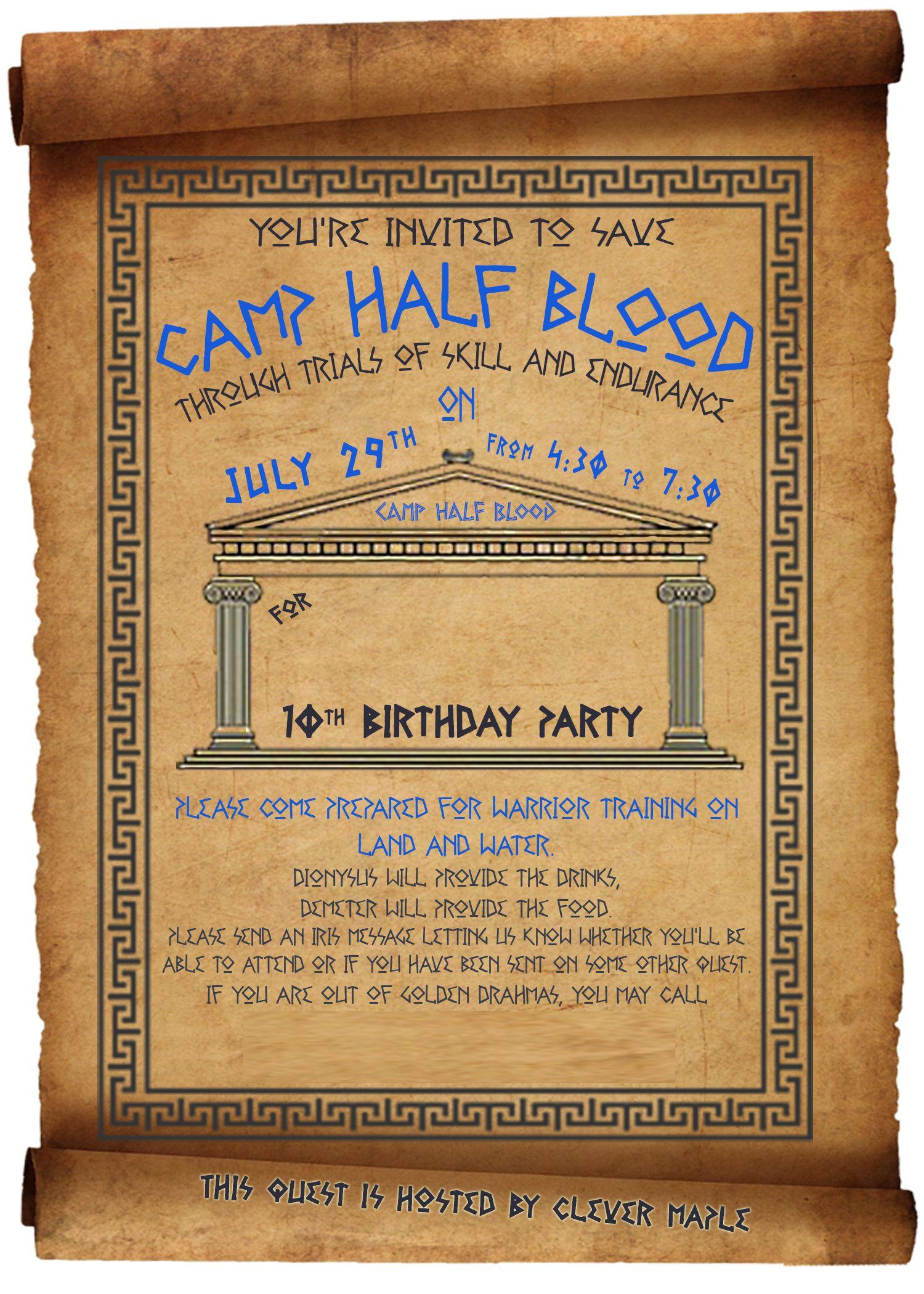 percy jackson birthday party invitation  u2026