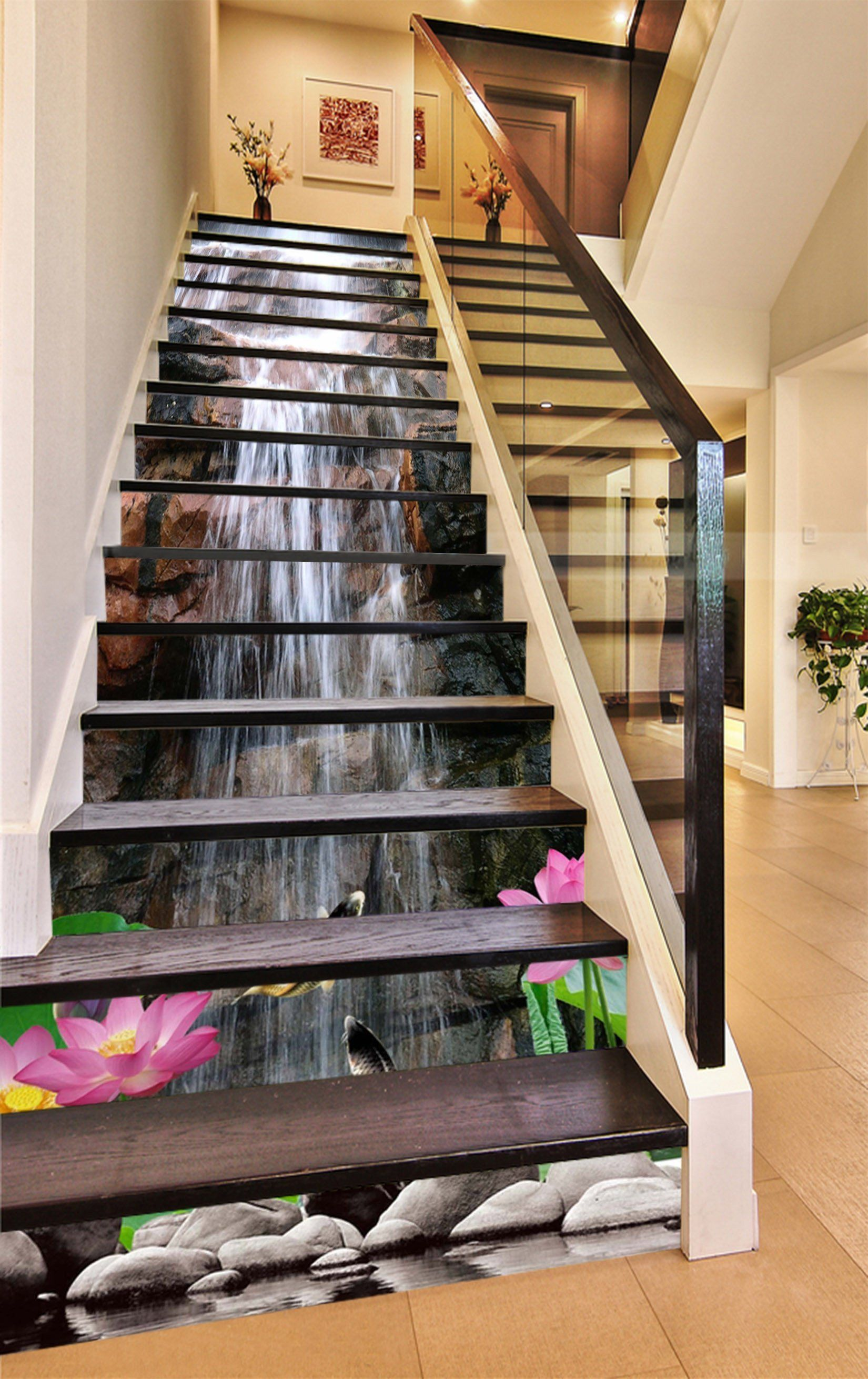 3d Waterfall Lotus Fishes 1367 Stair Risers Stairs In 2019