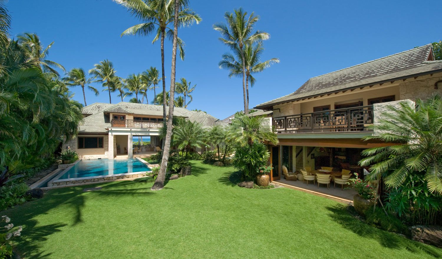 This luxurious North Shore Estate's backyard is the