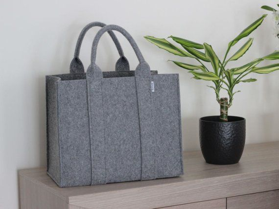 Bolso de fieltro, bolso de compras, bolso de madera, comprador, maletín, canasta de fieltro A4 gris con dos asas