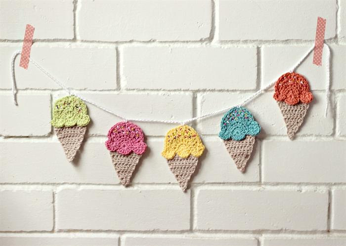 Icecream mini garland crochet bunting nursery room decor ice cream - Decoration au crochet ...