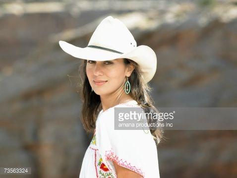 Woman Wearing Cowboy Hats Portrait Cowboy Hats How To Wear Women