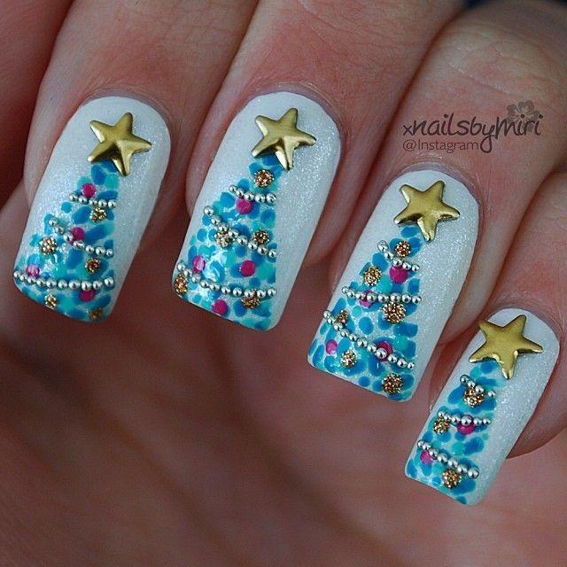 Christmas Tree Nails \u003c3 Pinterest