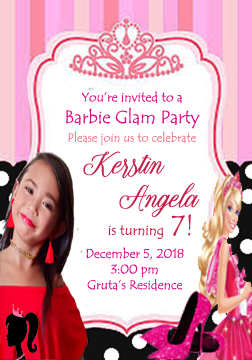 Invitation Card For 7th Years Old Girls Birthday Party Barbie Invitations Girl Birthday