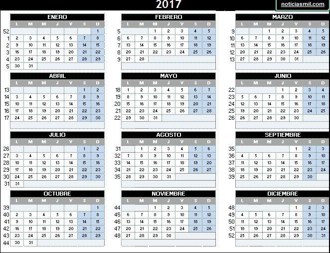 Calendario De Semanas.Calendario Con Semanas Education Calendario Calendario 2017 Y