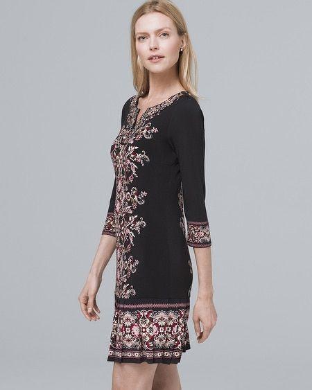 ed1bbe0df74 Women s Embellished-Neckline Pleat-Hem Knit Shift Dress by White House  Black Market