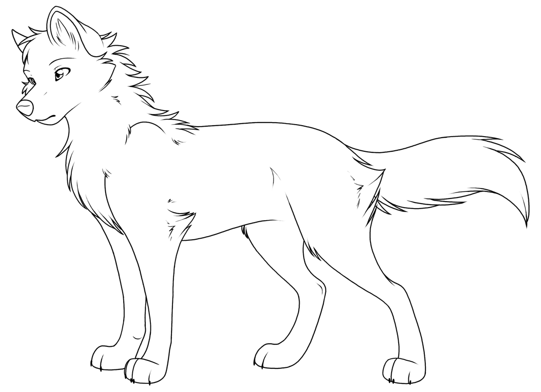 Coloring Pages Anime Wolfs