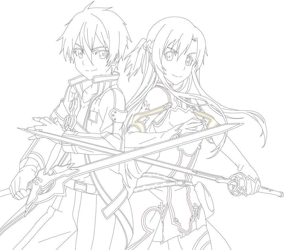 Kirito And Asuna Coloring Pages Sword Art Online Drawing Sword Art Online Asuna Sword Art Online