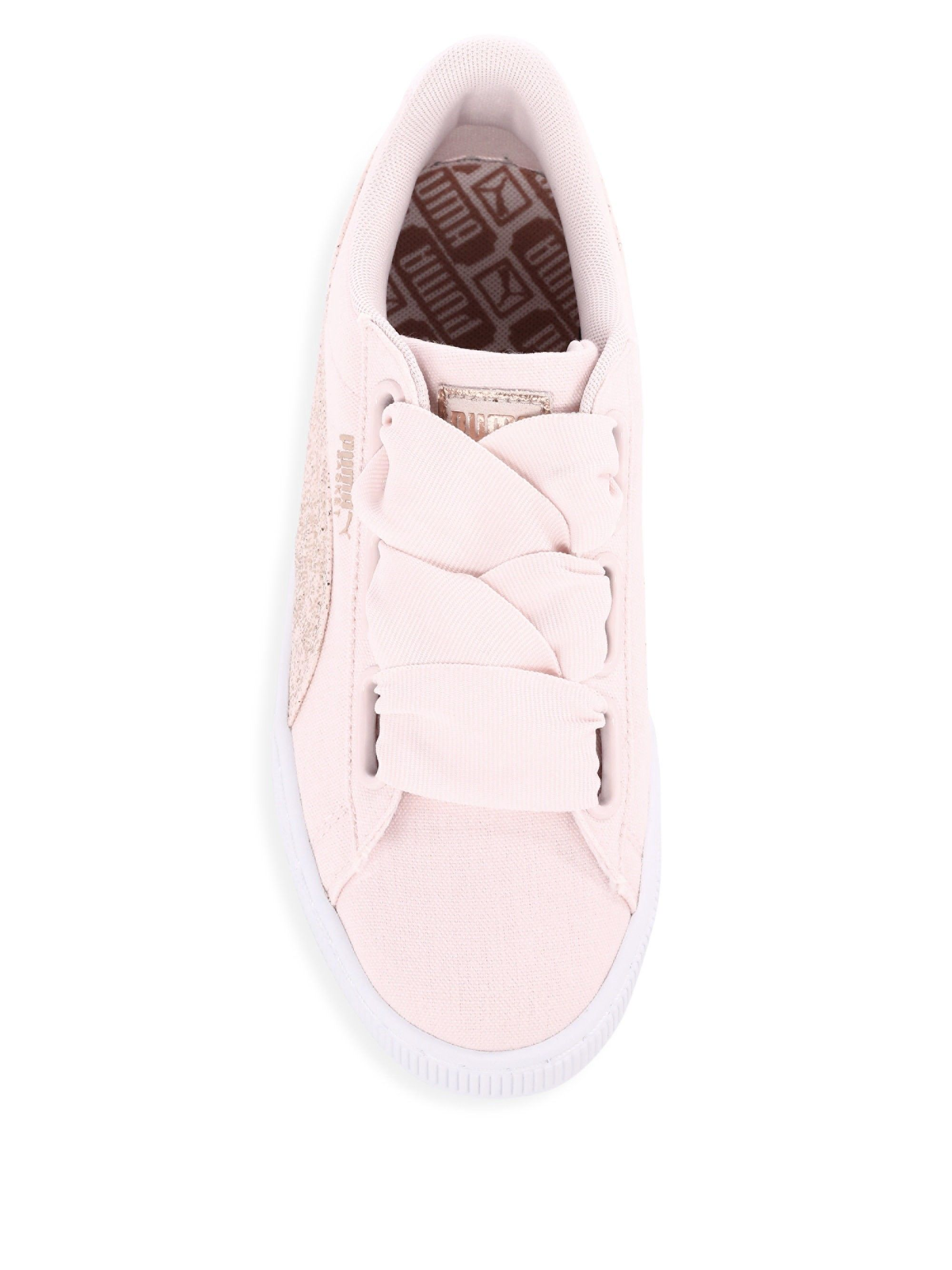 5a7c7444b1bc96 Puma Basket Heart Canvas Low-Top Sneakers - White Rose Gold 10.5