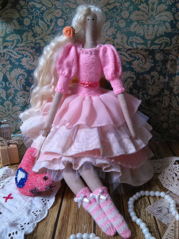 """Купить Текстильная кукла Тильда """"Роза"""" - розовый, кукла ручной работы, птица, белые волосы"""
