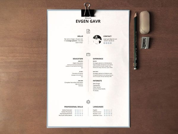 Clean and Minimal Resumé Templates print design Pinterest - resume design