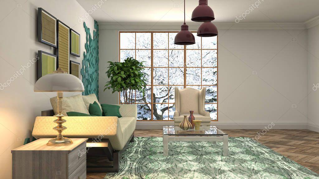 Interior Of The Living Room 3d Illustration Stock Photo Ad Room Living Interior Photo Ad