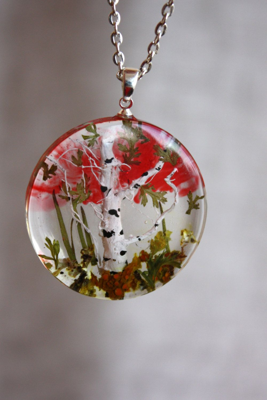 Transparent Pendant With Miniature Birch Round Pendant