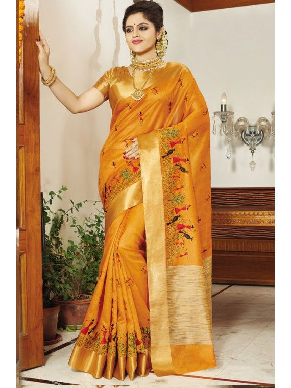 Phenomenal Rust Yellow Embroidered Silk Saree Daasis Silk Sarees