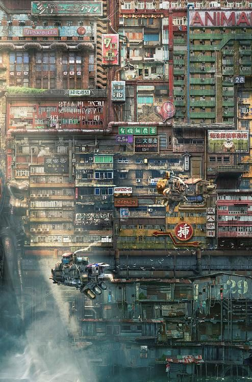 City Cyberpunk Sci Fi Industrial Urban Dystopia Digital