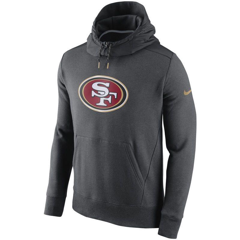 Men's San Francisco 49ers Nike Black Sideline Performance Half Zip Pullover Jacket
