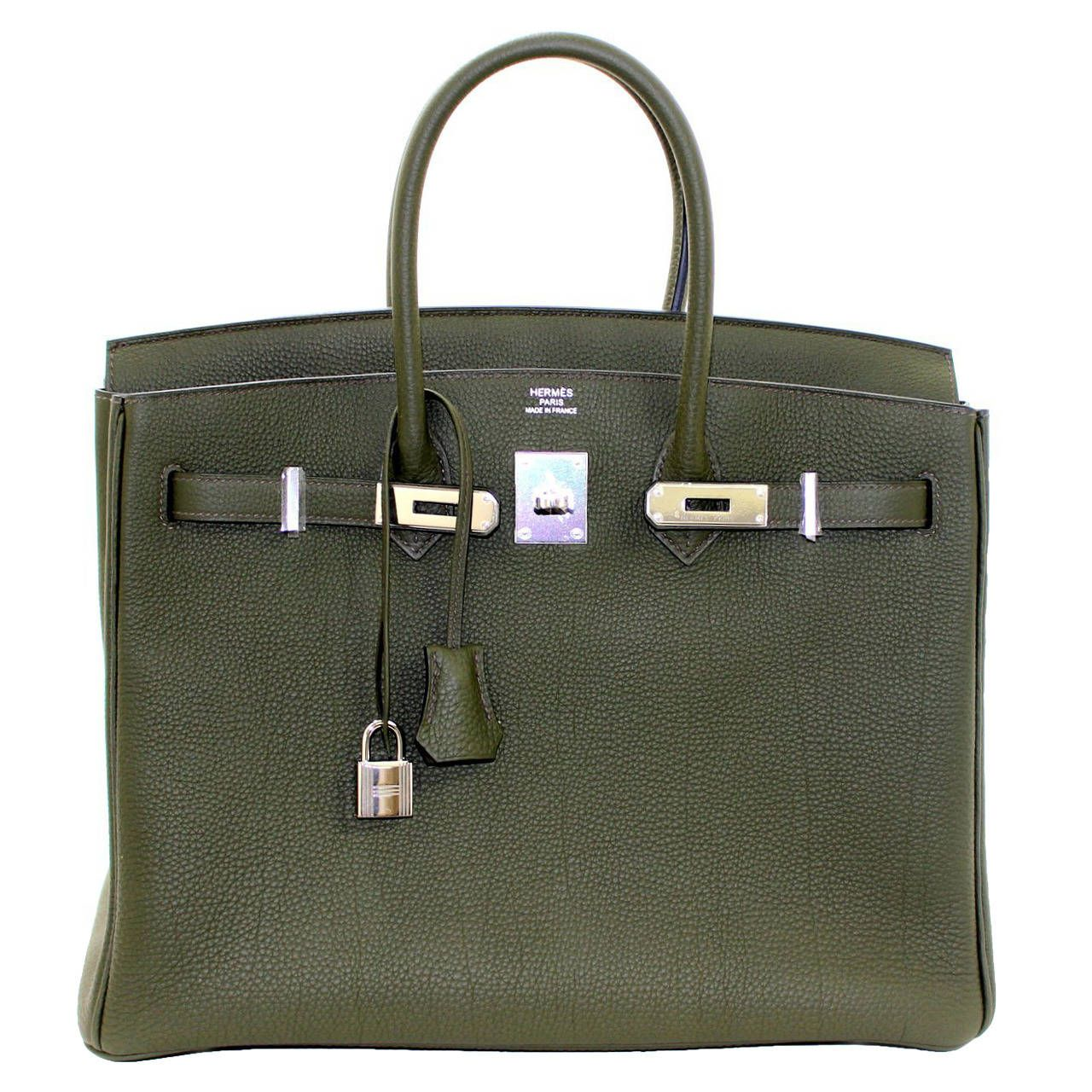 View This Item And Discover Similar Top Handle Bags For At Pristine Fresh Condition Plastic On Hardware Hermès Birkin Bag In Vert Olive Togo