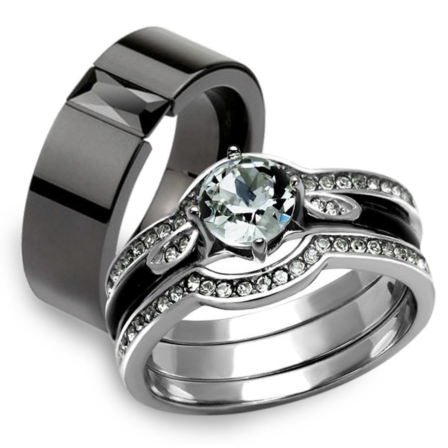 His Hers 4Pc Silver and Black Stainless Steel Wedding