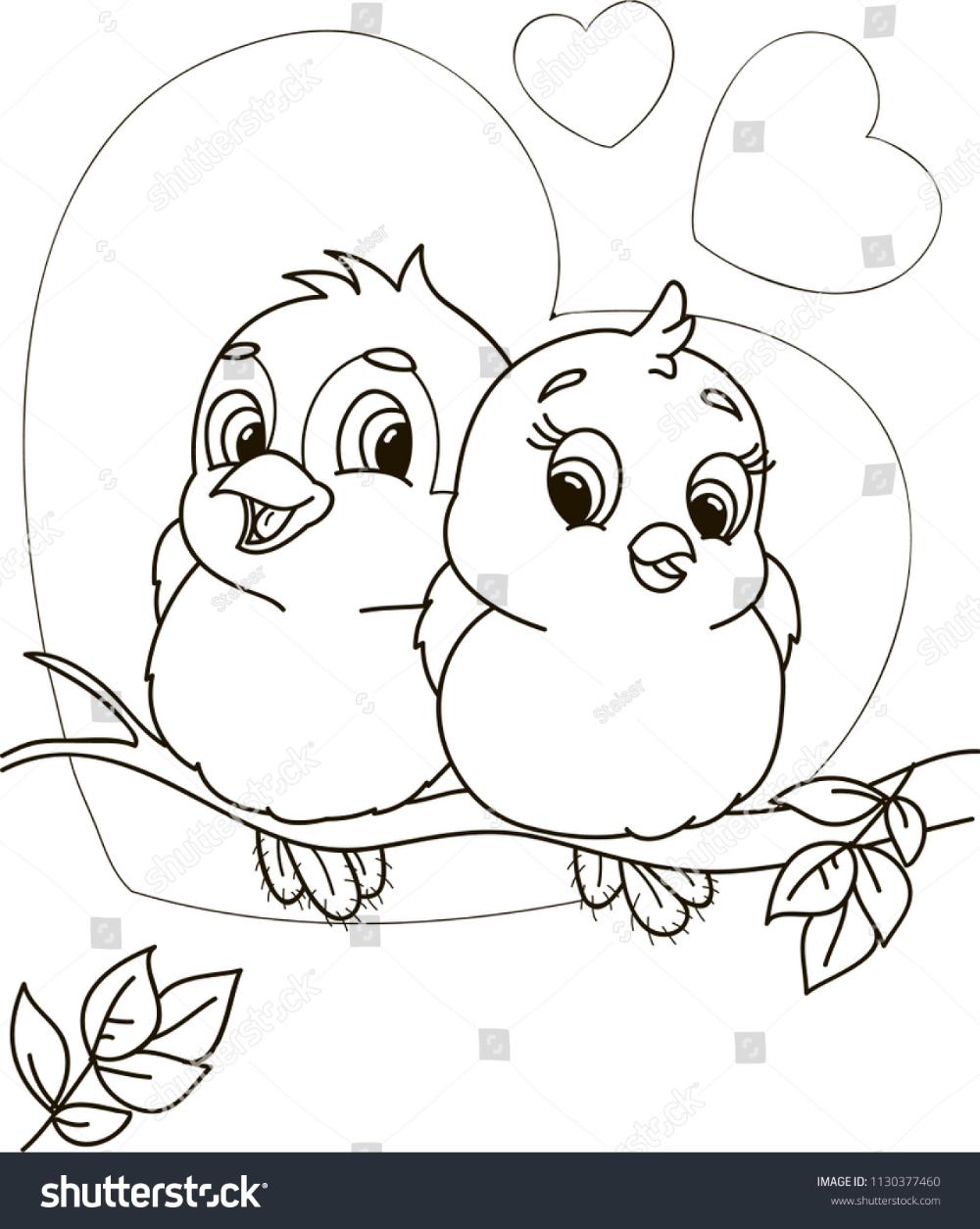 Coloring Page Outline Cartoon Cute Birds Stock Vector (Royalty ...